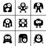 Iconos divertidos del monstruo fijados Imagen de archivo