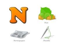 Iconos divertidos del niño de la letra N de ABC fijados: nuez, hoja informativa, aguja Foto de archivo libre de regalías