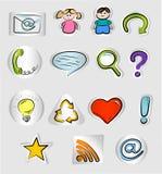 Iconos drenados mano del Internet y del Web Foto de archivo