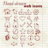 Iconos drenados mano del Web del ordenador Imágenes de archivo libres de regalías