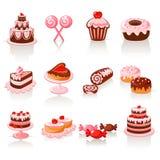 Iconos dulces de los pasteles ilustración del vector