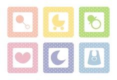 Iconos dulces del bebé con los puntos de polca Imágenes de archivo libres de regalías