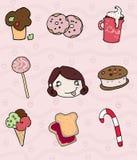 Iconos dulces y muchacha codiciosa Fotografía de archivo libre de regalías