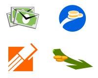 Iconos e insignias comerciales del dinero Foto de archivo libre de regalías