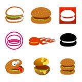 Iconos e insignias de la hamburguesa Fotografía de archivo libre de regalías
