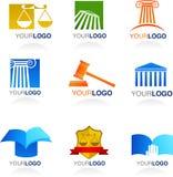 Iconos e insignias de la ley ilustración del vector