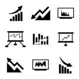 Iconos económicos negros del vector fijados Foto de archivo