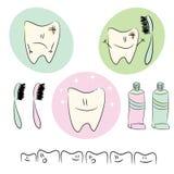 Iconos, ejemplos en el tema del cuidado dental f Fotografía de archivo
