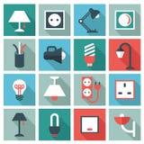 Iconos eléctricos de los accesorios stock de ilustración