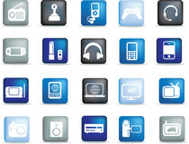 Iconos electrónicos del botón stock de ilustración