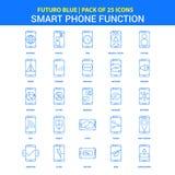 Iconos elegantes de las funciones del teléfono - paquete azul de 25 iconos de Futuro ilustración del vector