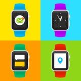 Iconos elegantes del reloj del vector ilustración del vector