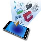 Iconos elegantes del uso del teléfono stock de ilustración