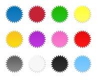 Iconos en blanco coloridos de la etiqueta engomada Imagen de archivo