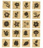 Iconos en el papel arrugado Fotografía de archivo