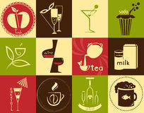 Iconos en el tema - bebidas Imagen de archivo libre de regalías