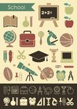 Iconos en el tema de la escuela y de la educación ilustración del vector