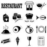 Iconos en el tema del restaurante Fotografía de archivo