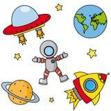 Iconos en espacio ilustración del vector