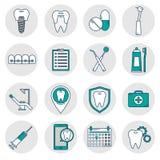Iconos en estilo linear dental Fotografía de archivo libre de regalías