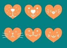 Iconos en forma de corazón de la cara de los animales domésticos Imagen de archivo