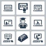 Iconos en línea de la educación del vector fijados Foto de archivo