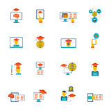 Iconos en línea de la educación planos Foto de archivo libre de regalías
