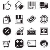 Iconos en línea de la silueta que hacen compras Imagen de archivo