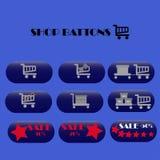 Iconos en línea de la tienda del web de las compras Imágenes de archivo libres de regalías