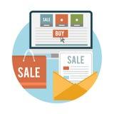 Iconos en línea de la venta del negocio ilustración del vector
