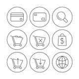 Iconos en línea de las compras Fotografía de archivo libre de regalías
