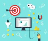 Iconos en línea del bisiness y de la publicidad de Internet del concepto del márketing - ejemplo Foto de archivo
