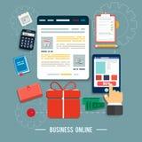 Iconos en línea del negocio stock de ilustración