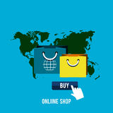 Iconos en línea del negocio ilustración del vector