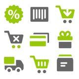 Iconos en línea del Web de las compras, iconos sólidos grises verdes Fotos de archivo libres de regalías