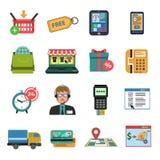 Iconos en línea planos Fotografía de archivo