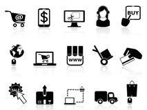 Iconos en línea que hacen compras Imagen de archivo libre de regalías