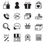 Iconos en línea que hacen compras Fotos de archivo