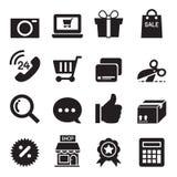 Iconos en línea que hacen compras de la silueta fijados Fotografía de archivo