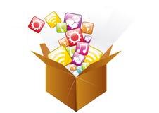 Iconos en la caja Imágenes de archivo libres de regalías