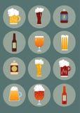 Iconos en la cerveza del tema Imágenes de archivo libres de regalías