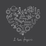 Iconos en la física bajo la forma de corazón libre illustration