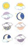 Iconos en las condiciones meteorológicas Fotos de archivo libres de regalías