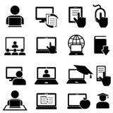 Iconos en línea de la educación y del aprendizaje Fotografía de archivo