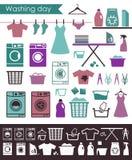 Iconos en un tema de lavarse y el cuidado de la ropa ilustración del vector