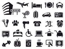 Iconos en un tema del hotel stock de ilustración