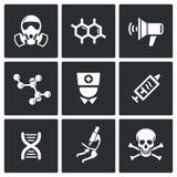 Iconos epidémicos de la protección fijados Imágenes de archivo libres de regalías