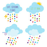 Iconos estacionales lindos del vector de la nube Fotos de archivo