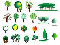 Iconos estilizados del árbol del extracto Fotos de archivo libres de regalías