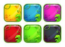 Iconos estilizados del app de la historieta con los elementos de la naturaleza Fotografía de archivo libre de regalías